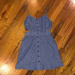 Madewell Button Down Denim Dress with Cutouts